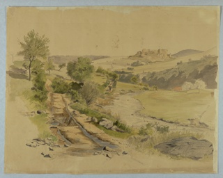 Sketch of landscape with a stream and a village in the background.