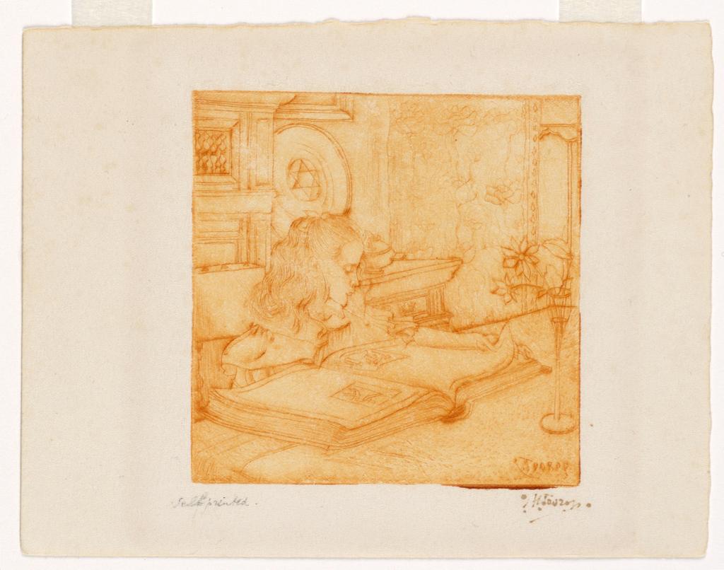 Print, Charley Plaatjes Kijkerd [Girl Reading], ca. 1898