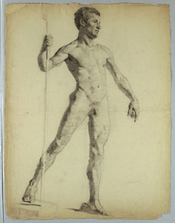 Nude study of man walking, facing right, with a staff in his right hand.