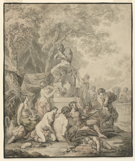 Vertical rectangle. A group of nymphs and satyrs are seen reveling in the foreground before a statue of a seated Pan on a high plinth. In the background, figures are trampling grapes in a large barrel.