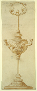 Oil lamp. Ring at top, composed of interconnected griffins. At center, two dragons form the arms. Lobed base with acanthus leaves.