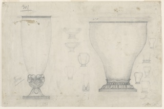 "Two scale drawings for silver vases marked in pen and ink as ""10"" and ""11,"" and thirteen smaller sketches for vases between them and at right, some of which are incomplete and indistinct. Goblet-shaped vase at left, inverted pear-shaped vase at right."