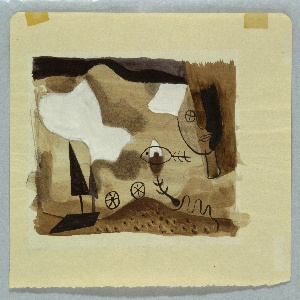 Study of an abstract landscape, with two wheels transverse a rolling landscape with trees on the left, in brown and gray. Above, clouds, a fish and partial face seen frontally at right.