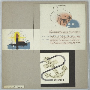Promotional materials for Orient Line, mounted together. Design at upper left depicts the outline of a Greek vase with figure on a chariot, sky with clouds and advertising copy in red and blue text, lower center, detailing schedule of cruise. Design at left shows a minaret before a setting sun and sailboats on the water. Design at lower right features an anchor cut from a sheet of cruise schedules; a gray line of stylized rope loops through the anchor, with text in black: R.M.S. 'ORCADES' / PRESS PARTY AUGUST 20-21 1937 / ORIENT LINE.