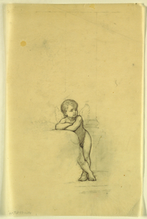 Sketch of a young male figure with a fishing pole on a rock, knees bent with his feet under him.