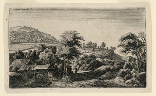 Landscape with a watermill at left foreground, situated in a valley. Mountainous background, with figure in mid-ground.