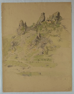 Sketch of landscape with ruins.