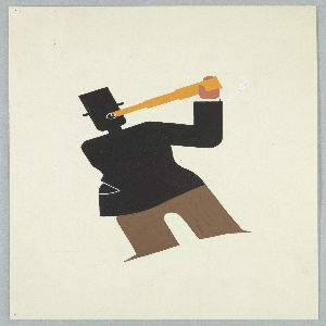 Standing figure, in solid color without details, wearing brown trousers and black coat and top hat. The figure holds up a gold spyglass to one eye, depicted as white lines, in the middle of its head. Figure tilted backwards slightly to the left.