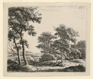 Slightly off-center, two shepherds resting with a dog beneath a tree. One with a long stick, seated; the other laying down. A road leads from left foreground in a curve around two large trees left background. A forest in right background, rocky landscape at left.