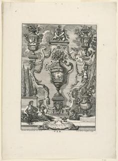 """Print, Unterschiedlich Augspurgische Goldschmidts Arbeit, """"Ver"""", Plate 1, 1721–40"""