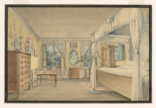 This view features a woman's bedroom, identified as such by the bonnet next to the ribbon-framed mirror and the blue slippers at the foot of the bed. Scandinavian design is shown in the bed at the right, draped in white cotton; curtains-to-match hang at the large French windows in the rear of the room. The ash-colored wooden furniture along with the wide wood planked floor and buff-colored walls indicate that this may be a summer retreat or hotel. Views of the countryside are seen through the windows.