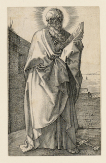 """The full-length figure of the bearded Saint, standing, turned toward the right, his head facing left. He holds an open book on his left arm, his right hand pointing to a passage. A sword lies on the ground at his feet. A view of the sea in the background. The artist's monogram and date, """"1514"""", appears lower right on the wall behind the figure."""