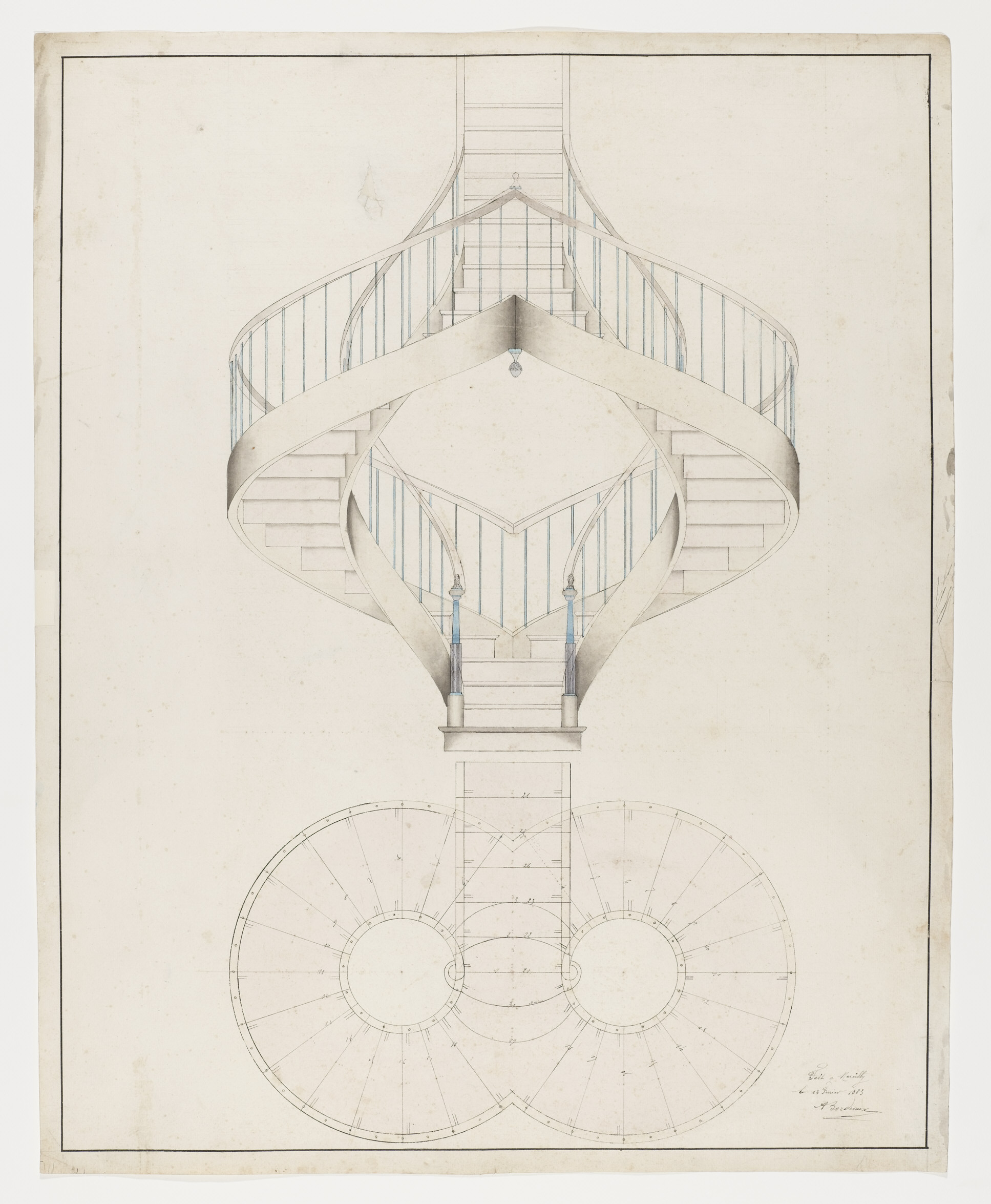 Picture of: Drawing Perspective Elevation And Plan View Of A Double Spiral Staircase February 13 1883 Objects Collection Of Cooper Hewitt Smithsonian Design Museum