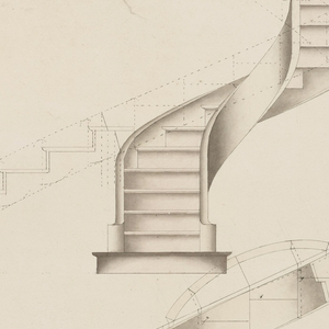 Drawing, Plan Development and Elevation for a Spiral Staircase that Turns to the Right