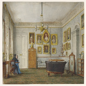 This large salon is sparsely furnished in the Biedermeier style. Atop the blond wood secretary is a gilt bronze lyre clock, flanked by classical busts. The upholstered banquette-and-matching-wall covering is a device used by Leo von Klenze, architect, and originally by his mentor, Schinkel. Mid-century porcelains, placed on Empire consoles, are reflected in tall mirrors. A great porcelain stove at right is partially concealed by a needlepoint fire screen.  The portrait on the center wall (upper row, second from left)  probably depicts of Eugene de Beauharnais, son of Josephine.