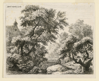 Wooded landscape scene with large trees and a brook at left. A figure carrying a large package is seen between the trees, walking toward a church, the tower of which is visible above the tree-line.
