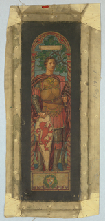 Study for a memorial window for the artist's father, Jacob Dolson Cox (1828-1900).  The figure of Courage is represented by a standing medieval warrior in armor, grasping a shield, against a background of stylized oak foliage, symbolizing strength and fortitude.