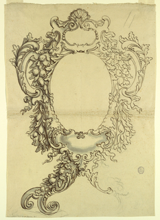 Design for a frame. The right hand shows contours only; the left hand side with shading. Scroll and florals throughout. A shell at top center.