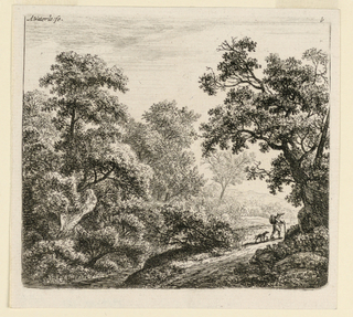 Wooded landscape scene with a traveler and dog walking along a road through the trees. At foot of the hill, left, a brook; beyond, a forest. Right foreground, a large tree . In background, right, some hills.