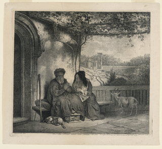 """The old Tobias sits on a bench on the porch, his foot on a rest-warmer, a dog asleep at his feet. His wife, with knitting in her hands and lap, leans toward him. A goat, right, beyond a chateau-like building. Below, the title: """"Der alte Tobias wird von Seinen Weibe Verspottet""""; the artists' names and date."""