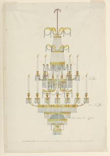 Vertical rectangle. Design for a chandelier, hanging on a cord. Intended for eighteen burning candles; eleven are shown, six being held by arms fastened to an upper ring, and some in the same manner by a lower ring. Upon the rims of the upper ring stand six sockets with glass candles. Three more rings are above and below; one of the latter ones supports a standing diamond glass bowl. Many drops and chains of glass.
