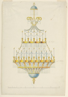 Vertical rectangle. Design for a chandelier. The burning candles are disposed alternately with glass candles upon two rings. There are eight of each kind above, sixteen below. On top and below are diamond glass bands. Tops and other glass ornaments. The scale is below.