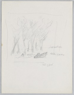 """Study for """"The New Forest, See Britain First on Winter Shell"""" poster. Rough sketches of several trees, with logs lying in the foreground."""