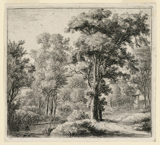 Wooded landscape scene. At right mid-distance, a man emerges from a gate in a fence. At left foreground, a river, behind which stand trees and bushes, and the roof of a house can be seen.