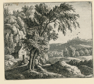 At left mid-distance stands a small house. Behind it a rocky mountain. Two trees in foreground, left. A traveller on the path at right foreground.