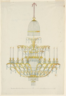 Design for a chandelier, suspended as in 1938-88-727. Glass chains and drops are fastened above in the shape of a canopy. One row of eighteen candles (ten are shown). They stick in sockets which are supported by the heads of eagles, which are at the ends of scrolls which rise from the next to the last ring. Glass chains and drops. Scale below. Traces of a caption as in 1938-88-725.
