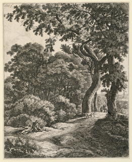 Print, Wooded Landscape with Two Travellers Resting