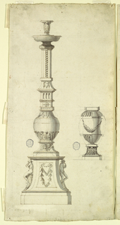 Two designs for a candelabra. At left, a plinth with a pair of ignudi. Baluster form with column and socket. At right, oval form with swag.