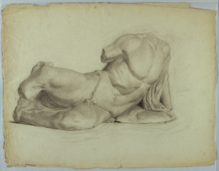 Study of statue or cast of reclining male nude. Torso and upper legs are shown.