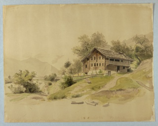 Sketch of a farmhouse with mountains in the background.