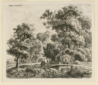 Wooded landscape with a small footbridge across a river or stream with two figures approaching.