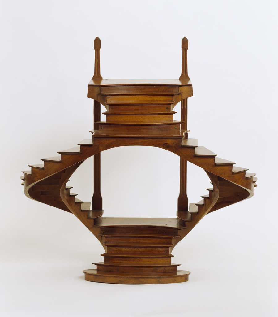 Double staircase model joining at the top and base with opening at center.