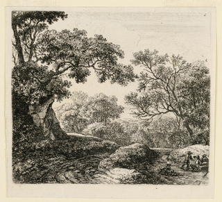 Wooded landscape scene three young figures and a dog, lower right.