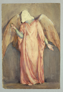 Angel facing front, in red-orange robe. Head indicated only through graphite sketch.