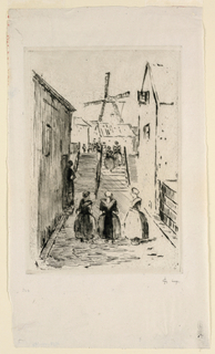 A narrow village street lined with houses. In middle distance, steps. In background, a windmill. Three women standing in foreground. More figures on staircase and beyond.