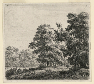 Wooded landscape scene with road running through trees. Solitary figure seen approaching.