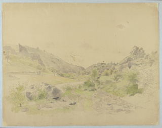 Sketch of a valley with a stream and hills in the background.