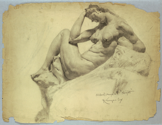 Study of a marble sculpture of a nude female figure.  The figure is seated, facing towards the left, and leaning back towards the right. Her forehead rests on her right hand, and her right elbow rest on her left knee, which is bent.