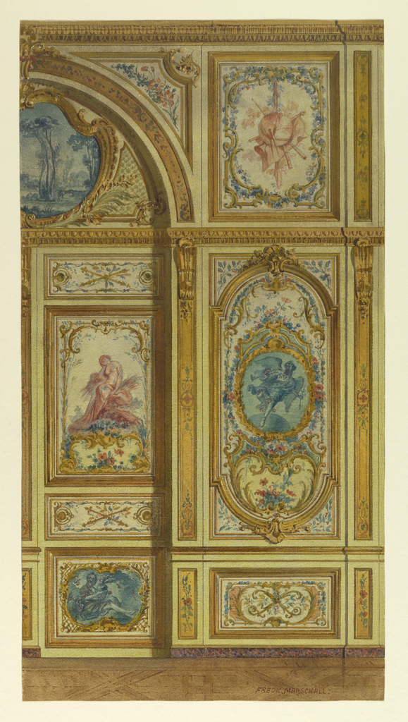 Section of wall, with painted panels of flowers, figures, trophies, in rococo manner. Left, portion of doorway recess; upper portion, semicircular with painted landscape in blue tones.