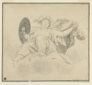 Seated on a cloud bank the figure of Juno is seen frontally, in her right hanad she holds a shield, and with her left hand brandishes a sword.
