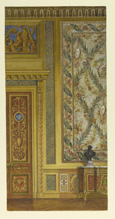 Section of wall. Right, large, framed tapestry panel seen partially. Left, portion of doorway, with an overdoor. Panel of gold fiugres on blue ground.