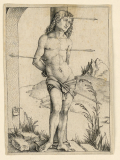 The saint is shown full-length, facing the spectator, his figure turned slightly to the right. He is bound to the column, his hands tied behind his back. Four arrows have pierced his body. The monogram of the artist appears on a paper which is attached to a stone shaft, lower left.
