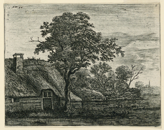 Print, Thatched Cottage by a Swamp in the Evening Light