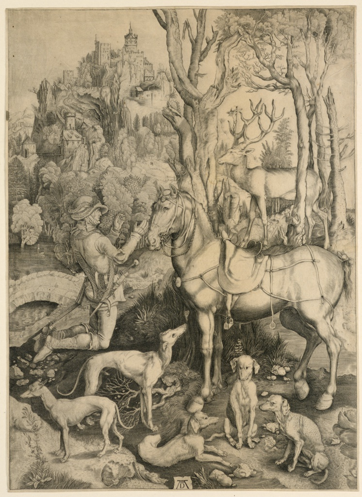 The saint is shown in profile, kneeling, facing right. With hands raised, he looks towards a staf, moving to the left, a crucifix between his antlers. The saint's horse stands right, facing left, and five hunting dogs, in different attitudes, are in the foreground. A castle on the summit of a mountain, in the distance. Monogram of  Dürer, lower center.