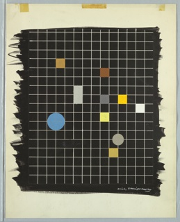 Study for an abstract composition. Colored squares and blue and gray circles against a white grid on black ground. Across top edge of page, three yellow tape stains.