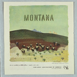 Clipping of a magazine advertisement for Container Corporation of America. Central image features cattle being driven by cowboys into the foreground of a pastoral landscape. Above, in gray text: MONTANA; below, text in black: Artist: E. McKnight Kauffer, native of Montana / Annual purchases: #300 million – mostly packaged. / CONTAINER CORPORATION OF AMERICA / SAVE WASTE PAPER [company logo of a box].